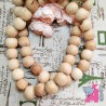 30 mm Wooden Beads, 5 Pieces