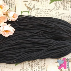 4 mm Multi ply Braided, Black Cotton, 50 Meters