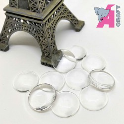 Round 16mm Glass Cabochon, 10 Pieces