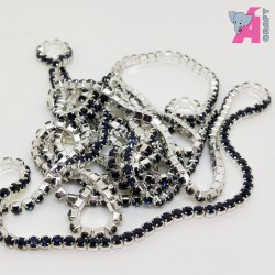 2 mm Navy Blue Chain Silver Cup