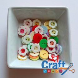 2 Layered Flower Acrylic Button, 50 Pieces