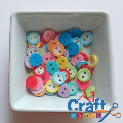 2 Layered Round Acrylic Button, 50 Pieces