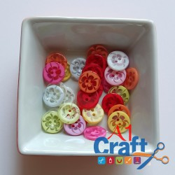 Round with Flower Pattern Acrylic Button, 50 Pieces