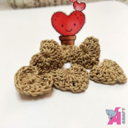 Crochet Heart Khaki, 5 Pieces