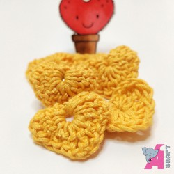 Crochet Heart Yellow, 5 Pieces