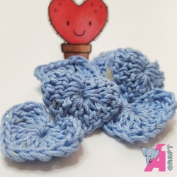 Crochet Heart Baby Blue, 5 Pieces