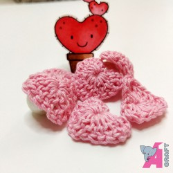 Crochet Heart Baby Pink, 5 Pieces