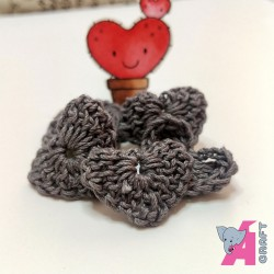 Crochet Heart Grey, 5 Pieces