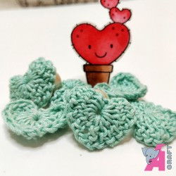 Crochet Heart Light Aqua, 5 Pieces