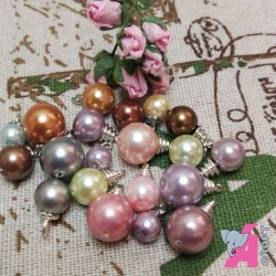 Pearl Danglers Multicolor with Silver Finish