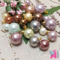 Pearl Danglers Multicolor with Golden Finish