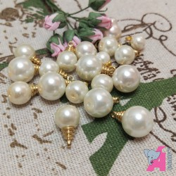 Pearl Danglers White with Golden Finish