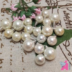 Pearl Danglers White with Silver Finish