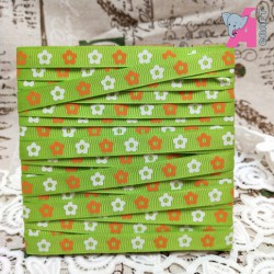 Flower Print Parrot Green Grosgrain Ribbon, 2 Yards