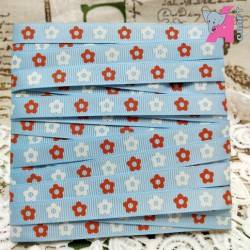 Flower Print Baby Blue Grosgrain Ribbon, 2 Yards