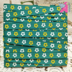 Flower Print Peacock Green Grosgrain Ribbon, 5 Yards