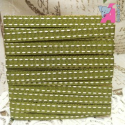 White Stitch on Olive Grosgrain Ribbon, 2 Yards