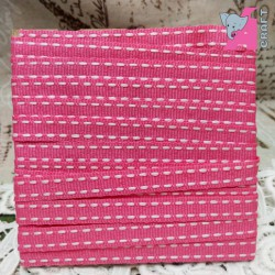 White Stitch on Pink Grosgrain Ribbon, 2 Yards