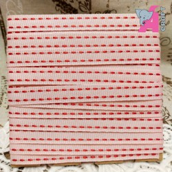 Red Stitch on Light Pink Grosgrain Ribbon, 2 Yards