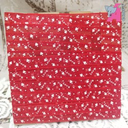 Red Organza Ribbon With Heart n Love Print, 5 Yards