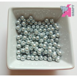6 mm Silver Glass Pearls