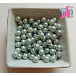 8 mm Silver Glass Pearls