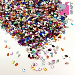2*3 mm Oval Mixed Color Rhinestones