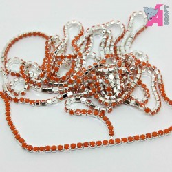 2 mm Opaque Orange Chain Silver Cup