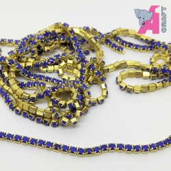 2 mm Opaque Ink Blue Chain Golden Cup