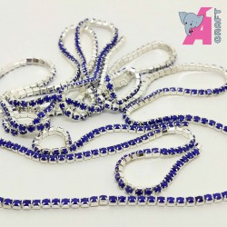 2 mm Opaque Ink Blue Chain Silver Cup
