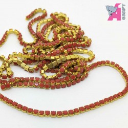 2 mm Opaque Red Chain Golden Cup
