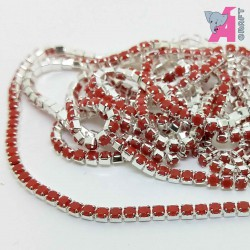 2 mm Opaque Red Chain Silver Cup