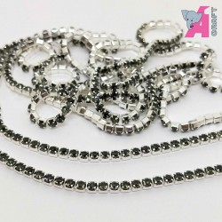 2 mm Black Diamond Chain Silver Cup