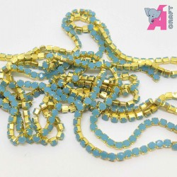 2 mm Opaque Light Blue Chain Golden Cup