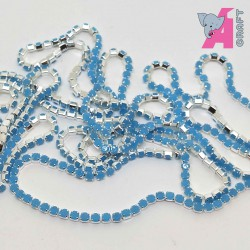 2 mm Opaque Light Blue Chain Silver Cup