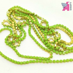 2 mm Opaque Light Green Chain Golden Cup