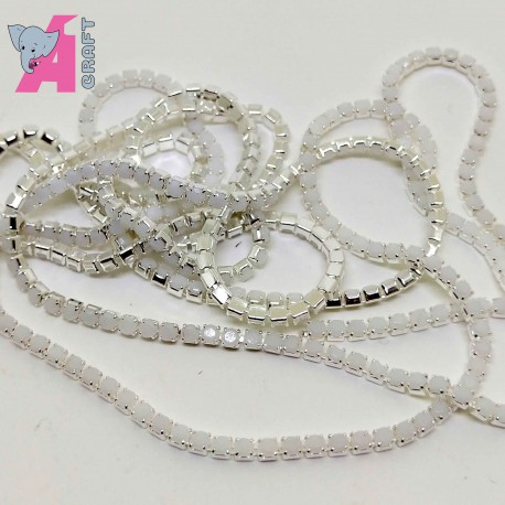 2 mm Opaque White Chain Silver Cup